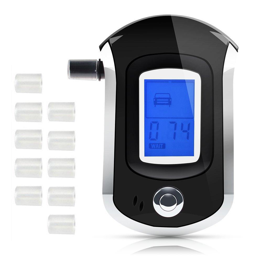Profi Alkoholtester Digital Atemalkohol-Tester LED Promille-Tester 10 Mundstücke