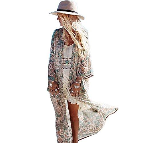 Zoye Chen Women's Loose Kimono Floral Print Chiffon Long Sleeve Cover up (Coffee)