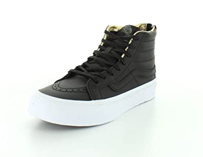 9e8584a8a4d72 Vans Unisex Leather SK8-Hi Slim Zip Black/Gold Sneaker - 3.5