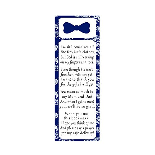 50 Personalized Bookmarks Baby Boy Shower Bow Tie Navy Blue (Bookmarks Damask Design)