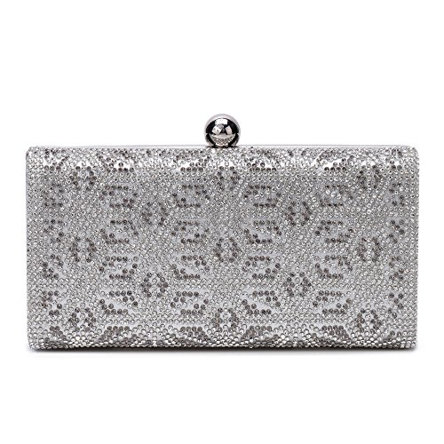 Womens Evening Clutch Bag Wedding Purse Bridal Prom Handbag Party Bag Sparkling Handbag (Silver 151) by Minicastle