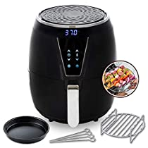 Modernhome Aria Air Fryer (5Qt Teflon-Free Air Fryer with Two-Tier Stainless Steel Rack, Baking Pan, and Recipe Book)