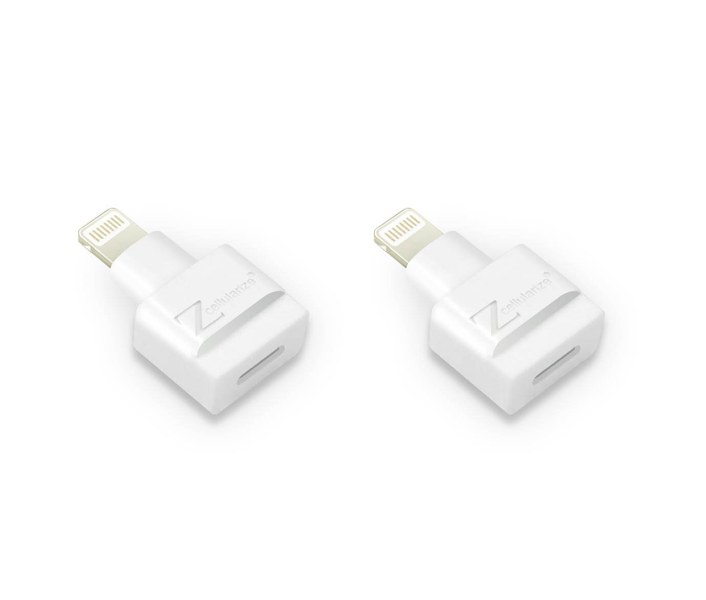 Cellularize Dock Extender (2 Pack, White) Male to Female Audio, Video Dock Charger Extension for Lifeproof, Otterbox Cases Compatible with iPhone 5, 6, 7, 7S, 8 Plus, X, iPad and More 4348705440