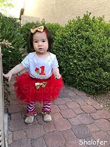 Shalofer Baby Girls First Birthday Outfit 4PCS Cute Tutu Romper Skirt Set