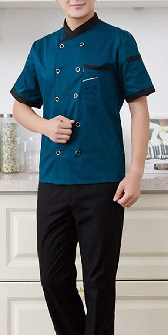 pujingge Mens Short Sleeve Double-Breasted Hotel Overalls Solid Shirt Tops