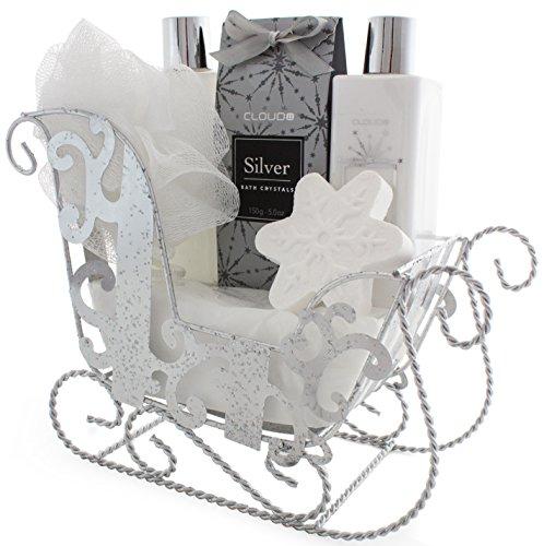 BRUBAKER 'Vanilla Christmas' Bade-Geschenkset mit Schlitten silberfarben 6-teilig