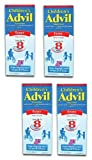 Children's Advil Suspension Ibuprofen 100mg Fast Pain Reliever and Fever Reducer Last up to 8 Hours Grape Flavor Liquid for Ages 2 to 11 Years - 3 Pack of 4 Oz Bottles