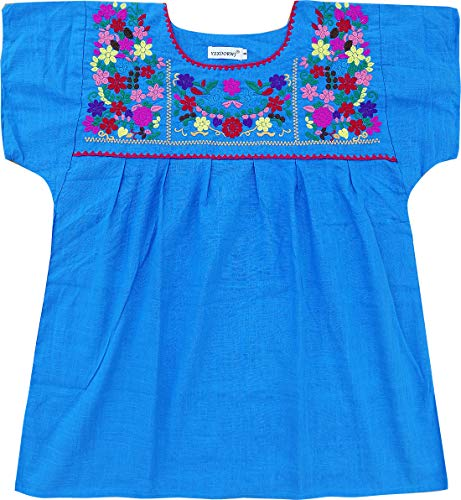 YZXDORWJ Embroidered Mexican Peasant Blouse (XL, 290BL)