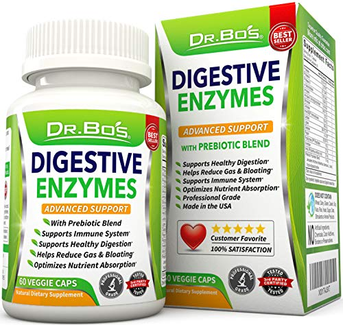Dr. Bo's Digestive Enzyme Supplements - Enzymes for Digestion with Lipase Amylase Bromelain and Prebiotics - Daily Gut Health Proteolytic Supplement Pills for Gas Bloating IBS Relief and Digest Gluten