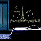 Glow In The Dark Luminous Night Eiffel Tower Removable Mural Home Decor Diy Wall Stickers Decal