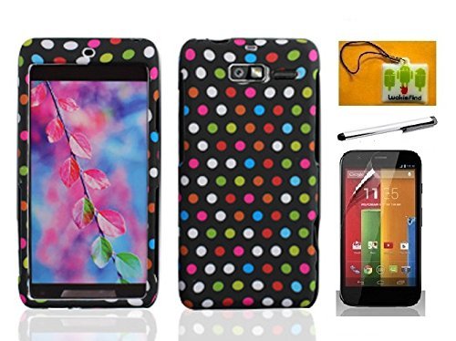 LF Rainbow Dot Designer Hard Case Cover, Stylus Pen, Screen Protector & Wiper For Verizon Motorola Droid Razr M XT907 Razr i XT890 (Designer Rainbow Dot) ()