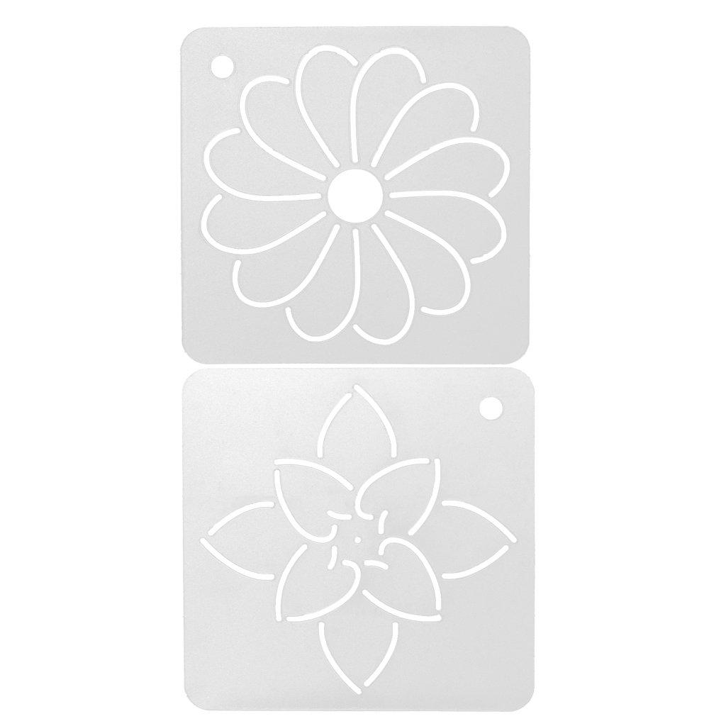 Prettyia 2Pcs Semi-Transparent Acrylic Flower Quilt Template Patchwork Embroidery Stencils