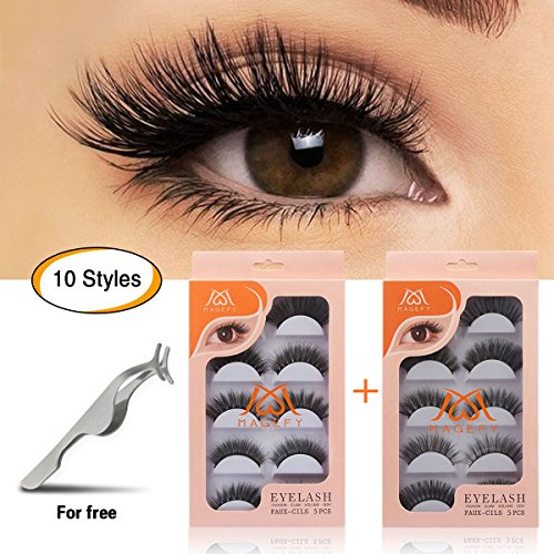 MAGEFY 10 Pairs Fake Eyelashes Reusable 3D Handmade False Eyelashes Set for Natural Look with False Lashes Applicator-10 Styles ()