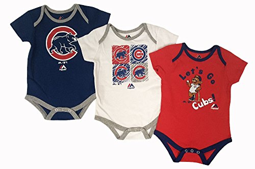 Onesie Cubs Chicago (Chicago Cubs Baby/Infant Go Team 3 Piece Creeper Set 18 Months)