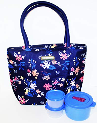 Tupperware Lunch Set with Insulated Bag and Crystalwave Soup Mug Falling for Floral