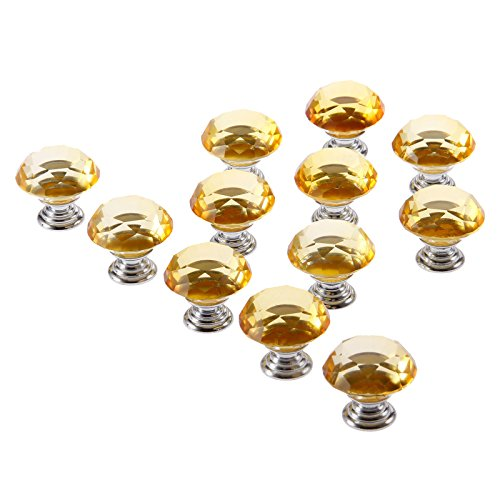 12pcs 30mm Diamond Crystal Glass Knob for Closet Cabinet Drawer Kitchen Dresser Cupboard Wardrobe,3 Size Screws,Amber by Mtsooning