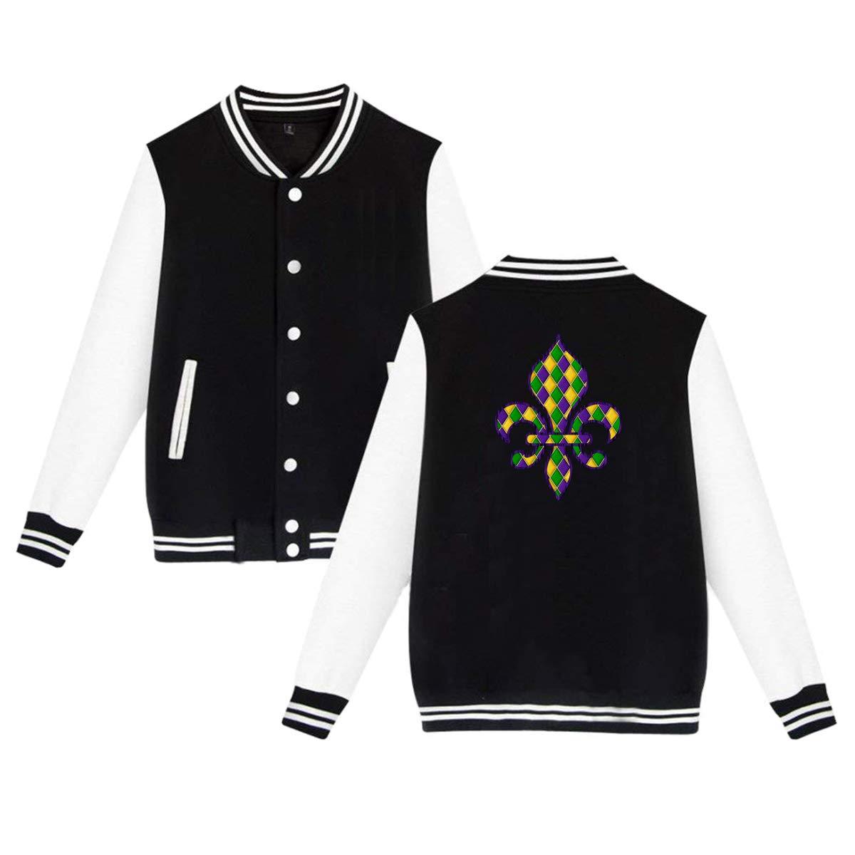Mardi Gras Fleur De Lis Baseball Jacket Uniform Unisex Sweater Coat