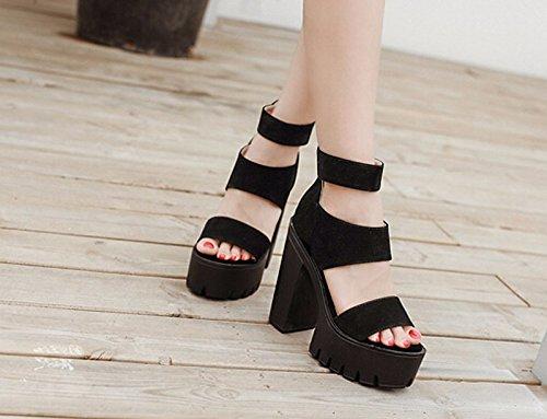 Buckmouth Schuhe 5Cm Sandalen Thirty 8 Weibliche Schwarze four Ferse Super Und Ein Wasserdichte Elegant Sommer Plattform Wort KHSKX Groben Einzelne Schuhe Schuhe xZwfFZqt