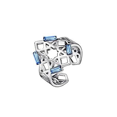 Blue Pearls Bague Ajustable Femme Cristal Swarovski Elements Bleu et Plaqué  Rhodium Cry F400 L 0edab07074c3