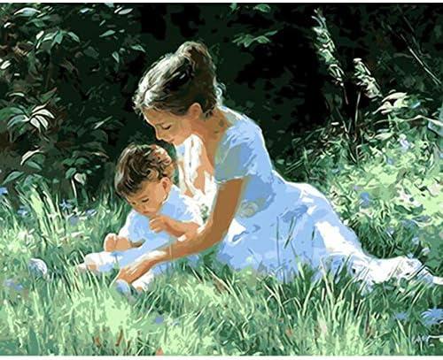 女性と子供フィギュアdiyデジタル絵画による数字現代の壁アートキャンバス絵画ユニークなギフト家の装飾40×50センチ