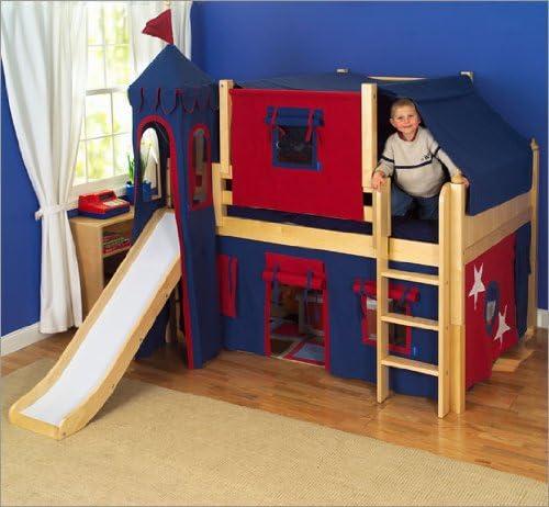 Amazon Com Maxtrix Kids Amazing Fantastic Full Low Loft Castle Bed Full Loft Bed With Slide Kitchen Dining