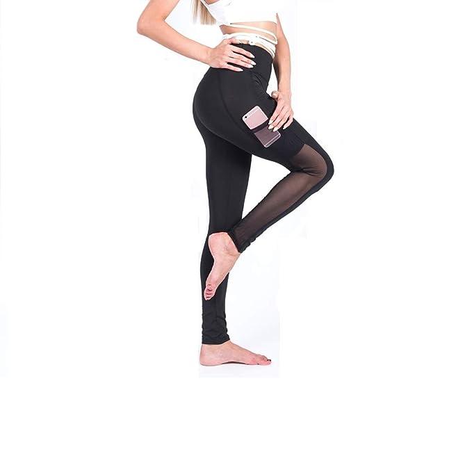 2d7e0d4e1f7ba ALLA Boutique Women Fitness Gym Sport mesh Pocket Plain Yoga Pants Leggings  (Small) Black