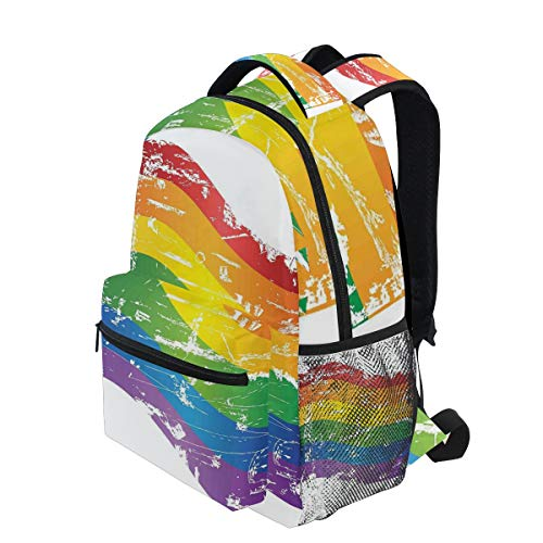 878da2813814a KVMV Grunge Style Gay Pride Flag LGBT Community Themed Antique Rainbow  Stripes Lightweight School Backpack Students College Bag 1st Grade School  Bags