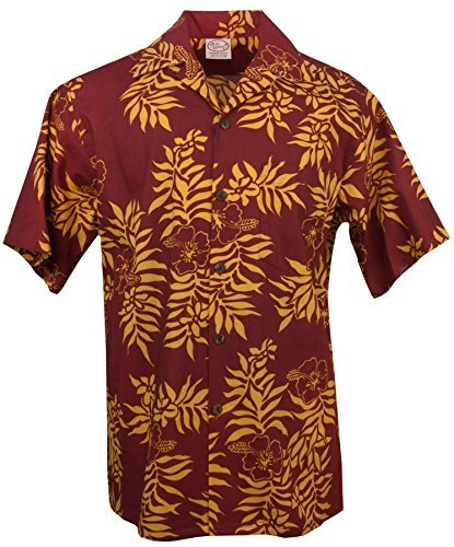 Barefoot Go Mini (Go Barefoot - Mini Tahitian - Men's Hawaiian Print Aloha Shirt - in Cardinal-Gold - Large)