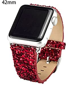 Apple Watch Band 42MM,Bling Shiny Sequins Iwatch Band Replacement Wristwatch Bracelet Strap Belt,Red