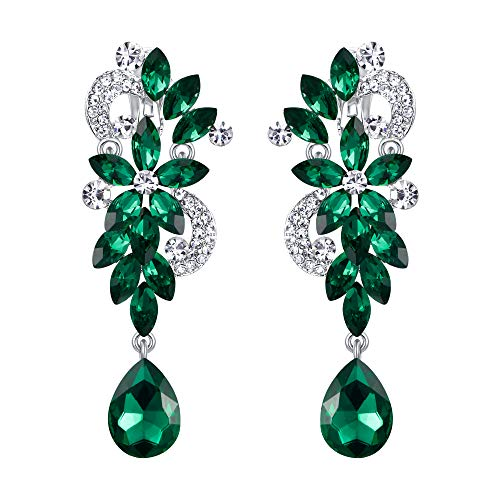 BriLove Wedding Bridal Clip On Earrings for Women Bohemian Boho Crystal Flower Chandelier Teardrop Bling Long Dangle Earrings Emerald Color Silver-Tone ()