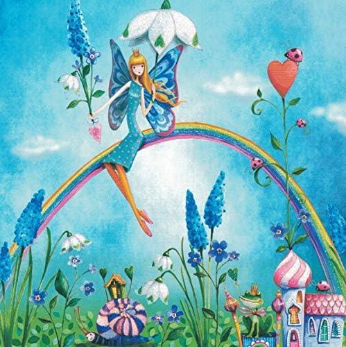 Postkarte 14x14cm MILA MARQUIS * Elfe auf Regenbogen * Glimmer