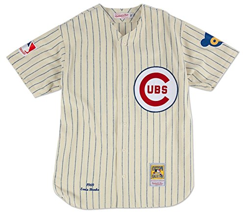 Mitchell & Ness Chicago Cubs #14 Ernie Banks Home Natural Pinstripe Throwback (Cubs Adult Home Jersey)