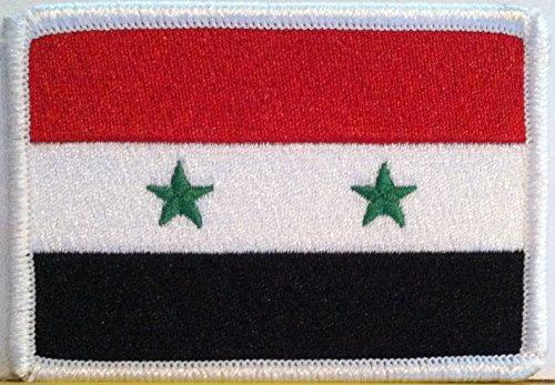 Syria Flag Embroidery Iron-on Patch Emblem White Border