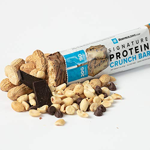 - Bodybuilding Chocolate Peanut Butter Signature Protein Crunch Bar | 20g Whey Protein Low Sugar | Gluten Free No Artificial Flavors | 12 Bars