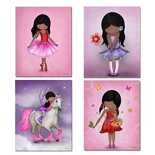 Set of 4 Posters African American Girls Wall Art Decor Artwork for Child's Bedroom or Nursery Unframed Prints 8x10 Inches Dark skin Black ()