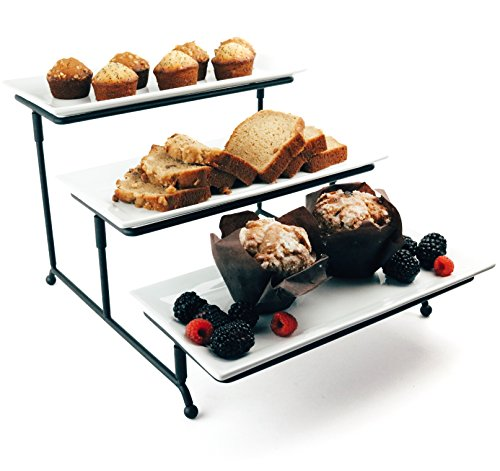 Food Serving Tray Set: 3 Tier Metal Display Stand with 3 White Rectangular Stoneware Platters | Perfect for Party Foods, Desserts, Cakes & Cupcakes by Chef's Medal