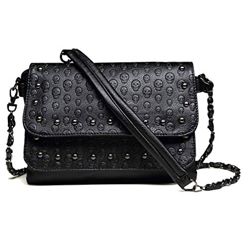 Freie Liebe Women Classic Black Skull Cross Body Bag Vintage Clutch Purse Shoulder Bag ()