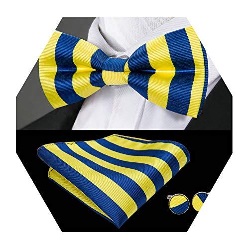 Stripe Bow Tie Set Blue Silk Tie Men Wedding Necktie Party Fashion