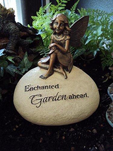 Bronze Effect Fairy sitting on Stone / Rock