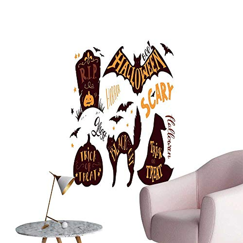 Jaydevn Vintage Halloween 3D Murals Stickers Wall Decals Halloween Symbols Trick or Treat Bat Tombstone Ghost Candy Scary Rental House Wall Dark Brown Orange W20 x H28 -