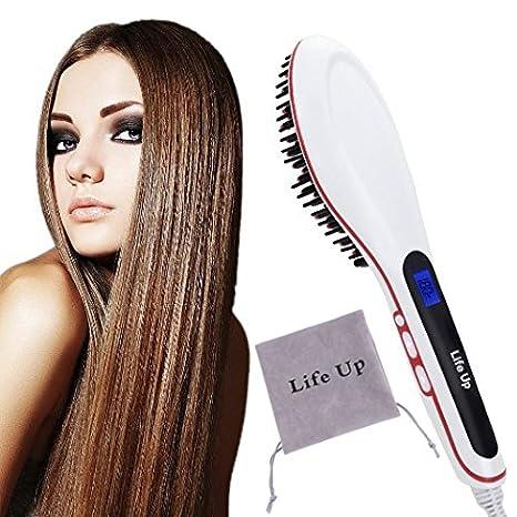 LifeUp - Cepillo alisador para cabellos lisos y sedosos, con pantalla LCD,Peine de