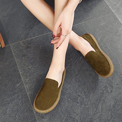 un de Caqui de 38 ocasionales Tamaño de HWF redondos para mujer mujer Caqui de primavera Zapatos Zapatos Zapatos Color de planos redonda Zapatos cabeza mujer pedal x4xXqHC8