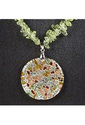 Sprinkles Circle Necklace Precious Gemstone Pendant Jewelry Jewel Gem