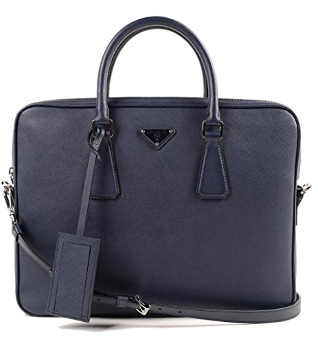Prada Men's Leather Briefcase Blue Saffiano (Blue Saffiano)