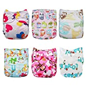 LBB Baby Reusable Cloth Diapers with adjustable snaps fit Girls/Boys,6pcs Pack,Heart
