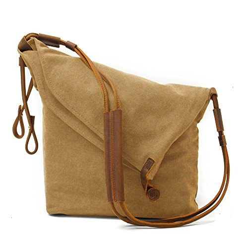 Crossbody Bags for Women Waxed Canvas Messenger Purse Over The Shoulder Bag Unisex Satchel Hobo Purses for Men Retro Genuine Leather Waterproof (Tan Brown)