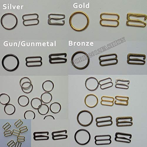 FidgetFidget Metal Bra Strap Adjuster Slide Rings Hooks O 8 9 100pcs 6/8/10/12/15/18/20/25mm Bronze 18mm 0.71
