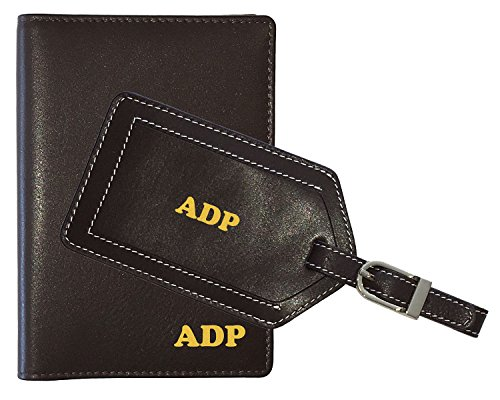 Personalized Monogrammed Brown Leather RFID Passport Wallet and Luggage Tag
