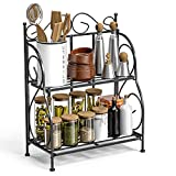 countertop storage shelf - F-color Bathroom Countertop Organizer, 2 Tier Collapsible Kitchen Counter Spice Rack Jars Bottle Shelf Organizer Rack, Black