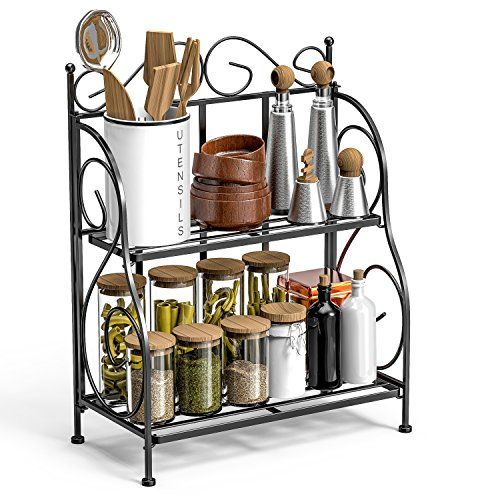 F-color Bathroom Countertop Organizer, 2 Tier Collapsible Kitchen Counter Spice Rack Jars Bottle Shelf Organizer Rack, Black by F-color